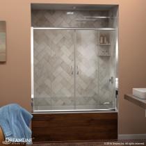 "Chrome Clear Glass DreamLine SHDR-1160586 Vision 56-60"" Sliding Tub Shower Tempered Glass Door"
