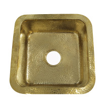 Nantucket Sinks SQRB-7 16.625 Inch Hammered Brass Square Undermount Bar Sink