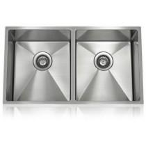 Lenova SS-12Ri-D1 One Half Radius Stainless Steel Equal Double Bowl