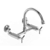 Parmir SSK-3000-T Wall Mounted Double Hole Kitchen Faucet with Cross Handle