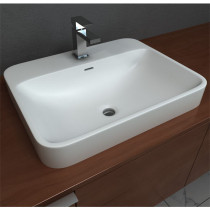 Cantrio Koncepts ST-2318 Solid Surface Semi Recessed Sink In Matte White With Overflow