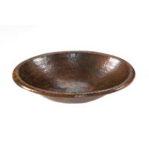 LO18RDB Oval Drop-In Self Rimming Hammered Copper Sink
