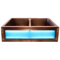 LightSmith 33'' T33CDL Light Up Single Bowl Copper Farm Sink