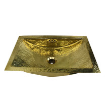 Nantucket Sinks TRB2416-OF Hand Hammered Brass Rectangle Bathroom Sink