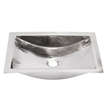 Nantucket Sinks TRS Hand Hammered Stainless Steel Rectangle Bathroom Sink