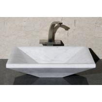 Allstone V-VGRTTP20155-CW Carrara White Marble Rectangular Vessel Sink