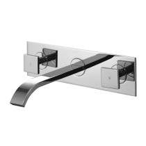 Vigo VG05002CH 8'' Dual Knob Handle Wall Mount Faucet with Pop Up Drain In Chrome Finish