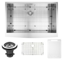VIGO VG3320CK1 33 Inch Farmhouse Stainless Steel Kitchen Sink With Grid and Strainer
