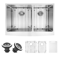 VIGO VGR3320BLK1 33 Inch Farmhouse Stainless Steel Kitchen Sink With Two Grids and Two Strainers