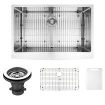 VIGO VGR3320CK1 33 Inch Farmhouse Stainless Steel Kitchen Sink With Grid and Strainer