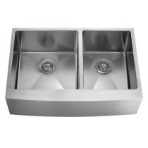 VIGO VGR3620BL 36 Inch Farmhouse Stainless Steel 16 Gauge Double Bowl Kitchen Sink