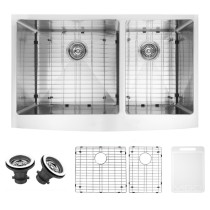 VIGO VGR3620BLK1 36 Inch Farmhouse Stainless Steel Kitchen Sink With Two Grids and Two Strainers