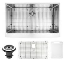 """VIGO VGR3620CK1 36"""" Farmhouse Stainless Steel Kitchen Sink, Grid and Strainer"""