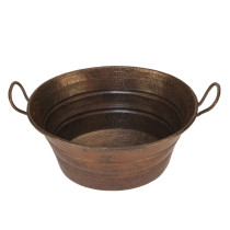 Premier Copper VOB16DB Oval Bucket Vessel Hammered Copper Sink with Handles