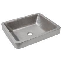Premiere Copper VREC19SKEN Electroless Nickel Hammered Copper Bathroom Sink