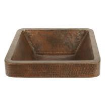 Premier Copper VSQ15SKDB Square Skirted Vessel Hammered Copper Sink