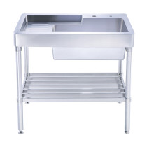 Whitehaus WH33209-LEG-NP Pearlhaus Brushed Stainless Steel  Single Bowl Utility Sink With Drainboard