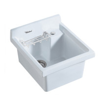 Whitehaus WH474-60 Vitreous China Utility sink with wire basket and off center drain