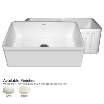 Whitehaus WHAL3018-FLS Fireclay Sink With Lip And Fluted Front