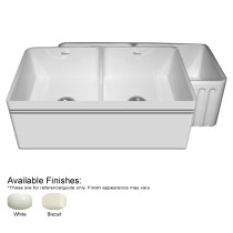 Whitehaus WHAL3318-FLD Double Bowl Reversible Fireclay Kitchen Sink