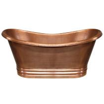 Whitehaus WHCT-1003 Handmade Double Ended Freestanding Copper Bathtub - Hammered Copper