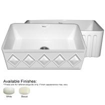 Whitehaus WHDI3018-FLS Diamondhaus Series Fireclay Sink