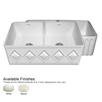 Whitehaus WHDI3318-FLD Double Bowl Fireclay Sink With A Diamon Design