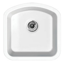 Whitehaus WHE1717D Elementhaus Undermount Single D-Bowl Fireclay Sink