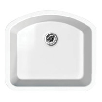 Whitehaus WHE2421D Elementhaus Undermount Large Single D-Bowl Fireclay Sink