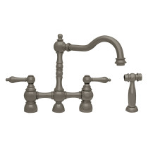 Whitehaus WHEGB-34656-BNBridge Faucet with Long Traditional Swivel Spout in Brushed Nickel