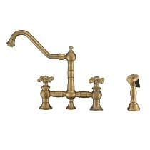 Whitehaus WHKBTCR3-9201-NT-AB Vintage III Plus Bridge Faucet Antique BrassWhitehaus WHKBTCR3-9201-NT-AB Vintage III Plus Bridge Faucet Antique Brass