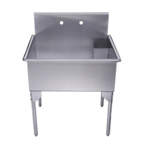 "Whitehaus WHLS3024-NP 30"" Brushed Stainless Steel Freestanding Utility Sink"