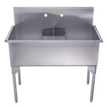 "Whitehaus WHLSDB4020-NP 40"" Brushed Stainless Steel Two Bowl Utility Sink"