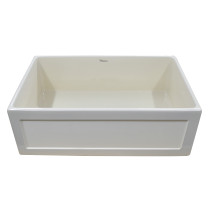 """Whitehaus WHPLCON3319-BISCUIT Fireclay 33"""" Large Reversible Front Apron Sink"""