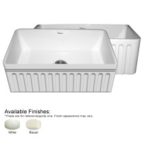 Whitehaus WHQ3018-FL Kitchen Farm Sink With Fluted Apron And Decorative Lip