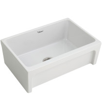 "Whitehaus WHQ5530-WHITE Fireclay 30"" Reversible Front Apron Sink In White"