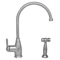 Whitehaus WHQN-34682-C Gooseneck Kitchen Faucet with Side Spray in Polished Chrome