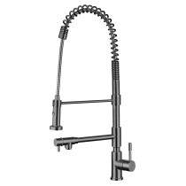 Whitehaus WHS1644-SK-BSS Brushed Stainless Steel Faucet with Pull-Down Spray and Pot-Filler