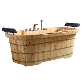 "ALFI brand AB1130 65""Free Standing Cedar Tub w/ Fixtures & Headrests"