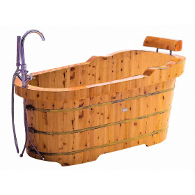 "ALFI brand AB1139 61"" Free Standing Cedar tub with Fixtures & Headrest"
