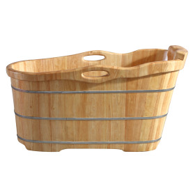 "ALFI brand AB1187 57"" Free Standing Wooden Soaking Bathtub with Headrest"
