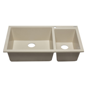 "ALFI brand AB3319DI 34"" Double Bowl Drop In Granite Composite Kitchen Sink"