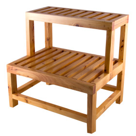 "ALFI brand AB4402 20"" Double Wooden Stepping Stool"