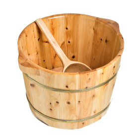 ALFI brand AB6604 Round Wooden Cedar Foot Soaking Tub