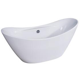 ALFI brand AB8803 68 Inch White Oval Acrylic Free Standing Soaking Bathtub