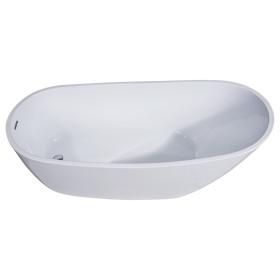 ALFI brand AB8826 68 Inch White Oval Acrylic Free Standing Soaking Bathtub