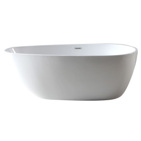 ALFI brand AB8861 59 Inch White Oval Acrylic Free Standing Soaking Bathtub