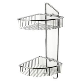 ALFI brand AB9532 Polished Chrome Corner Mounted Double Basket Shower Shelf
