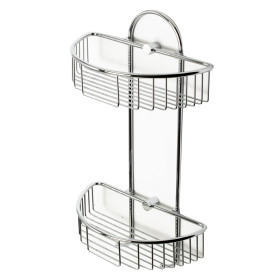 ALFI brand AB9534 Polished Chrome Wall Mounted Double Basket Shower Shelf