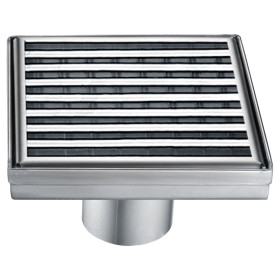 "ALFI brand ABSD55D 5"" x 5"" Square Stainless Shower Drain with Groove Lines"